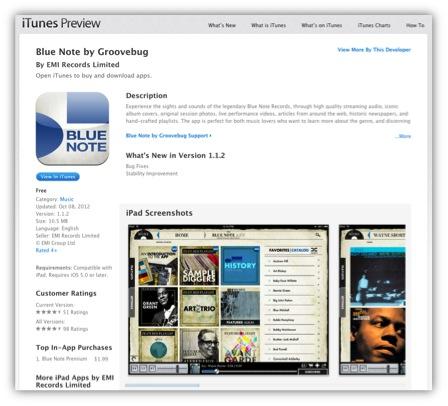 iPad版 Blue Note アプリ。国内では入手できない