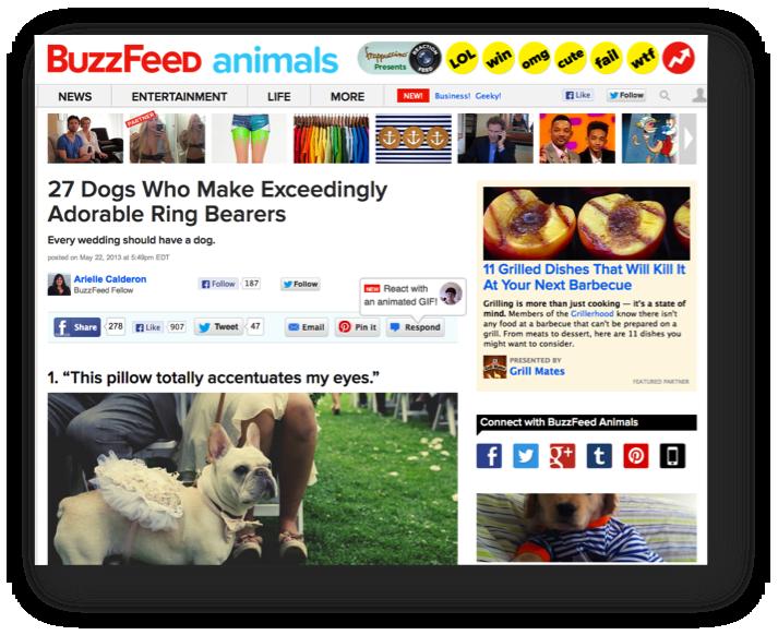 BuzzFeed記事面。右上にスポンサードコンテンツ