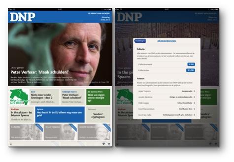 アプリDNP。右は個々の執筆者を選択して購読するメニュー