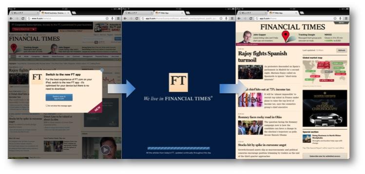 Financial Times の HTML5 アプリ 左)ブラウザからアクセスすると、アプリへ誘導される 中)アプリへアクセス中 右)ブラウザ内でアプリが起動した
