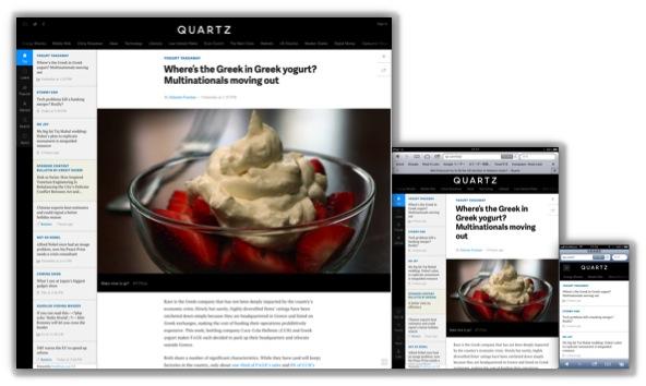 Quartz画面(左からPC、iPad、そしてiPhone版)