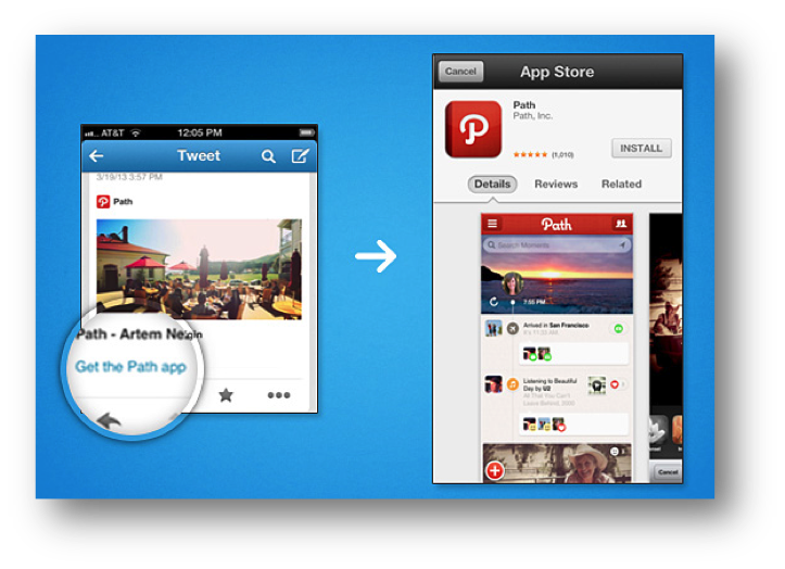 Twitterに実装されたアプリ・ディープリンク(引用@IT記事より)