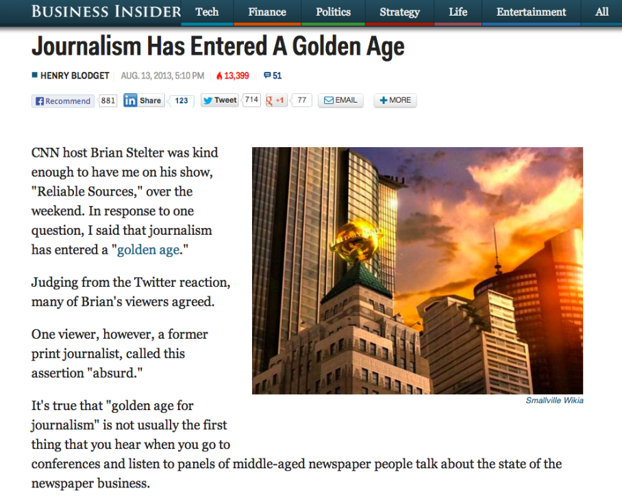 "Henry Blodget ""Journalism Has Entered A Golden Age"""