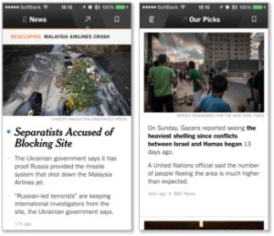 NYT Now。左はトップ画面。右は「Our Picks」画面