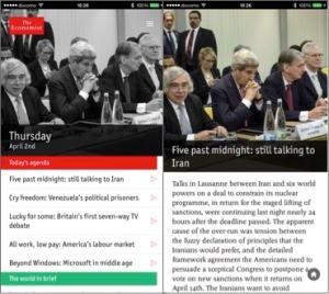 "The Economistの日刊アプリ""Espresso""。INDEXと記事面(右)"