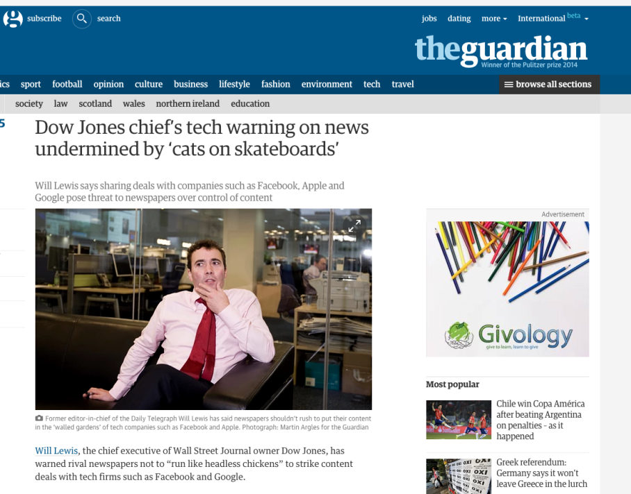 Dow Jones chief's tech warning on news undermined by 'cats on skateboards'